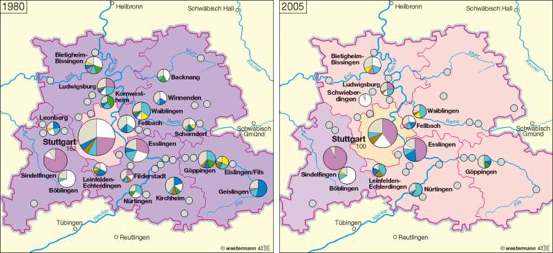Industrieentwicklung 1980 / 2005 |  | Wirtschaftsraum Region Stuttgart | Karte 33/1