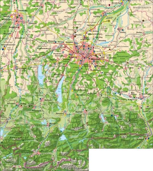 Wirtschaft/ Naherholungsraum      Alpenvorland   Karte 34/1