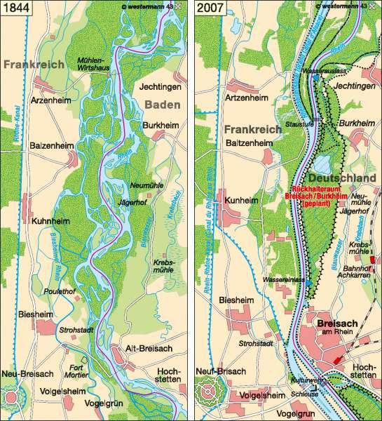Oberrheinregulierung bei Breisach 1844 / 2007 |  | Deutschland – Umwelt | Karte 45/4