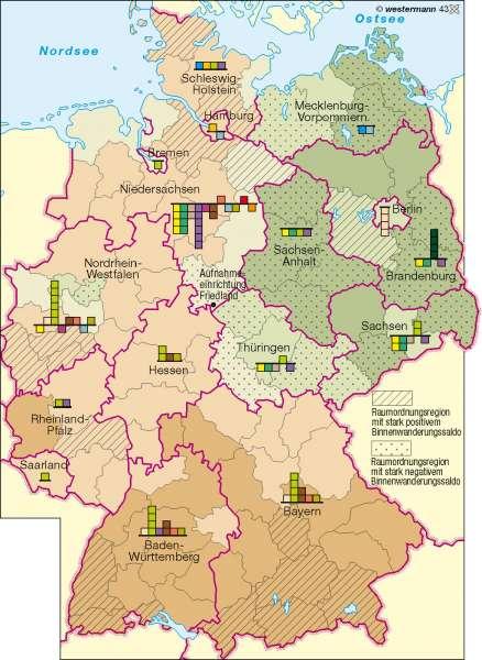 Arbeitslosigkeit/Binnenwanderung |  | Deutschland – Wirtschaftsstruktur | Karte 51/3