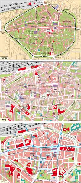 Dortmund   1858 / 1945 / 2007   Deutschland – Wandel ländlicher und städtischer Siedlungen   Karte 55/4