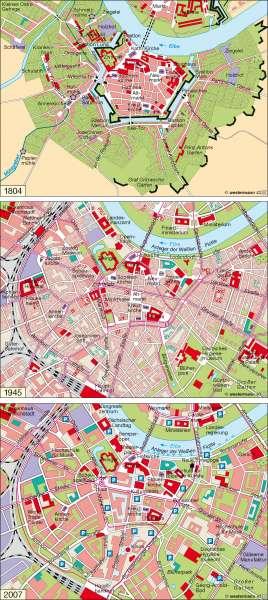 Dresden   1804 / 1945 / 2007   Deutschland – Wandel ländlicher und städtischer Siedlungen   Karte 55/5