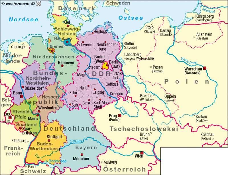 Bundesrepublik Deutschland/DDR bis 1990 |  | Deutschland – politisch | Karte 58/3