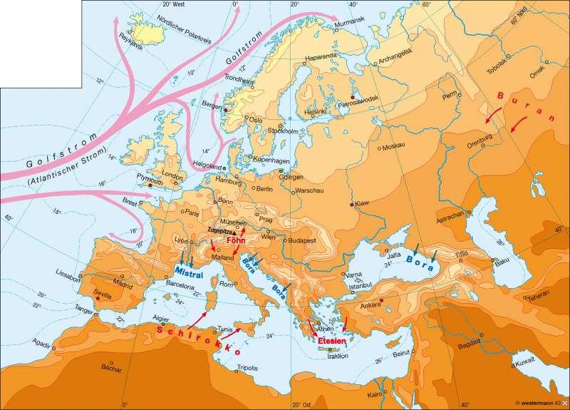 Temperaturen im Juli      Europa – Klima   Karte 64/2