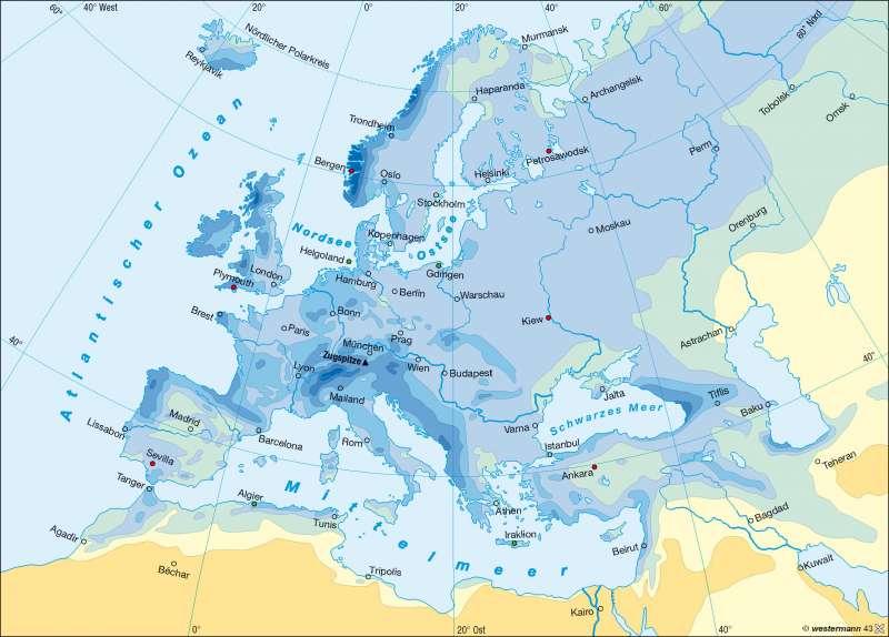 Niederschläge im Jahr |  | Europa – Klima | Karte 65/3