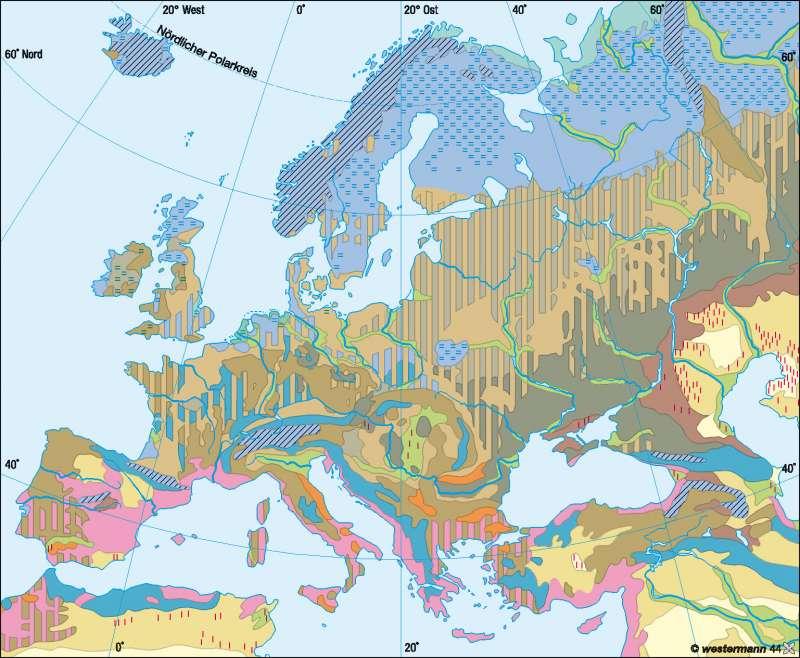 Bodentypen      Europa – Landwirtschaft   Karte 67/2