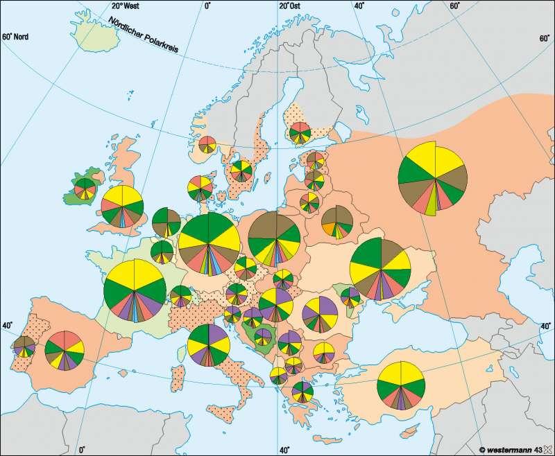 Wandel in der Landwirtschaft | Entwicklung des Ackerbaus 1990-2005 | Europa – Landwirtschaft | Karte 67/3