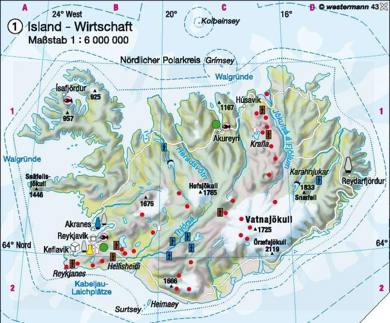 Island | Wirtschaft | Skandinavien/Baltikum – Wirtschaft | Karte 72/1