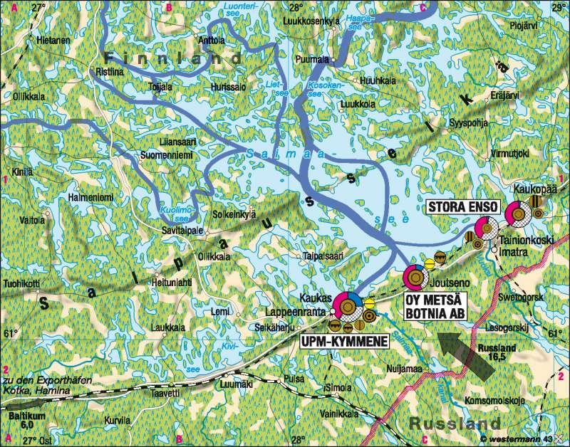 Saimaasee | Produktionsverflechtung in der Holzindustrie 2005 | Skandinavien/Baltikum – Wirtschaft | Karte 73/3
