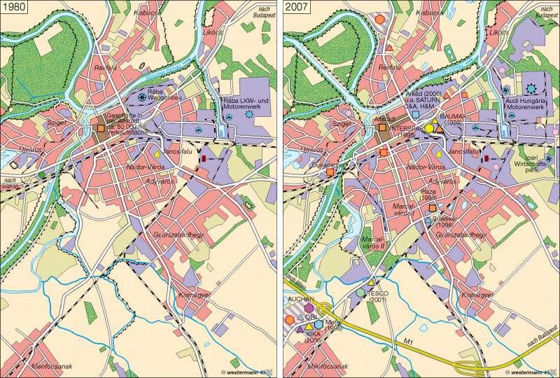 Raab (Györ) | Handel und Gewerbe 1980 / 2007 | Polen/Ungarn | Karte 75/2