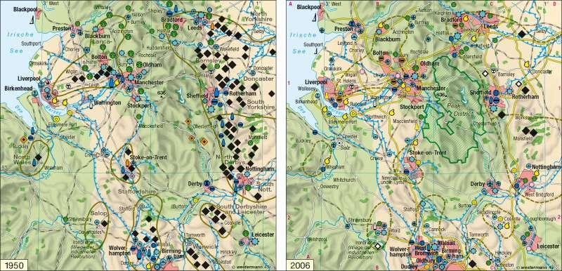 Nord- und Mittelengland | Strukturwandel in Bergbau und Industrie 1950 / 2006 | England | Karte 85/1