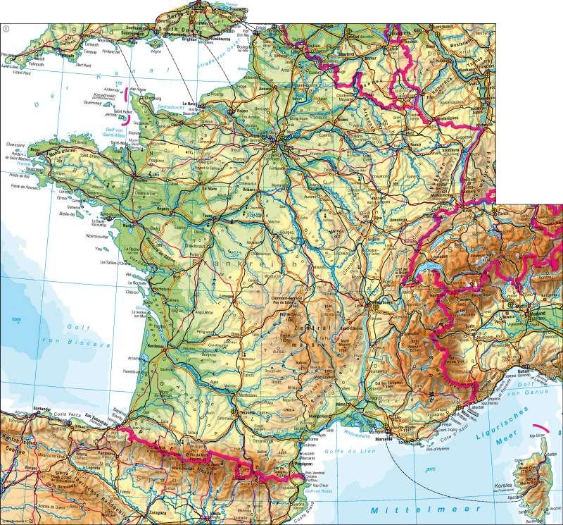 Frankreich | physisch | Frankreich - physisch | Karte 86/1