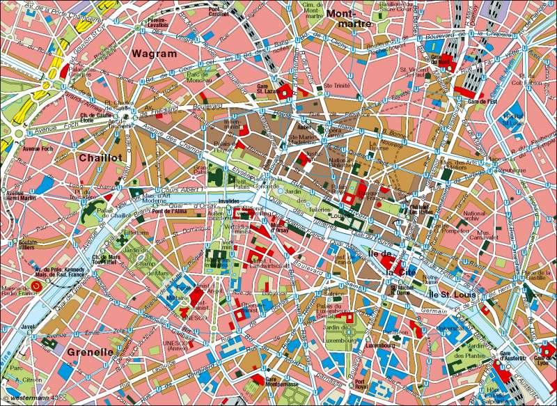 Paris | Innenstadt | Frankreich - physisch | Karte 87/3