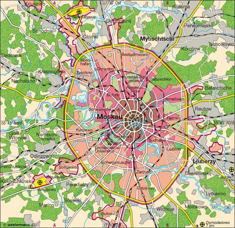 moskau karte Diercke Weltatlas   Kartenansicht   Moskau   Übersicht   100750