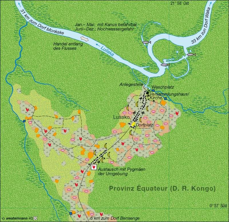 Kongobecken | Landwechselwirtschaft der Nkundu-Bantus | Afrika – Landwirtschaft/Bevölkerung/Siedlung | Karte 104/3