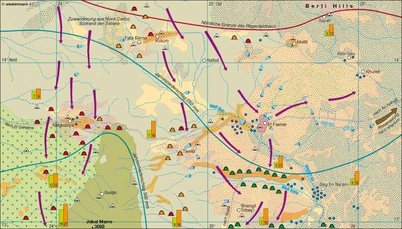 El Fasher (Sudan)   Desertifikation   Afrika – Landwirtschaft/Bevölkerung/Siedlung   Karte 105/5
