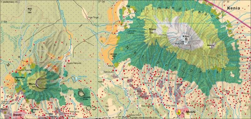Kilimandscharo/Meru (Nord-Tansania) | Natur- und Kulturlandschaft | Afrika – Landwirtschaft/Bevölkerung/Siedlung | Karte 105/6