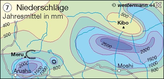 Niederschläge | Jahresmittel in mm | Afrika – Landwirtschaft/Bevölkerung/Siedlung | Karte 105/7