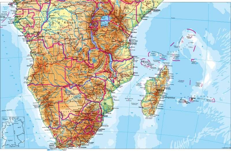 Afrika südlicher Teil   physisch   Afrika südlicher Teil – physisch   Karte 108/1