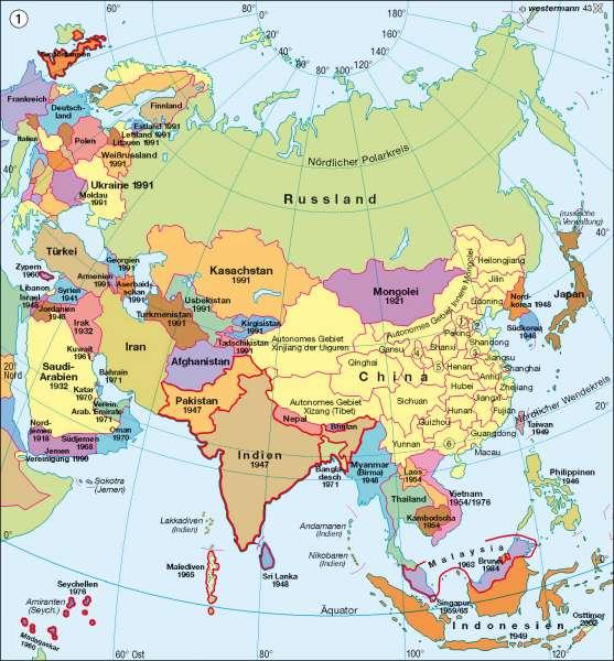Politische Übersicht      Asien – politische und physische Übersicht/Bevölkerung   Karte 114/1