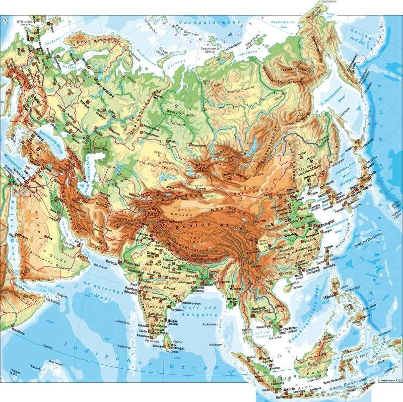 Physische Übersicht |  | Asien – politische und physische Übersicht/Bevölkerung | Karte 114/3
