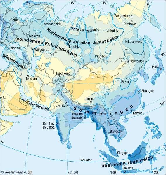 Niederschläge im Jahr      Asien – Klima   Karte 116/3