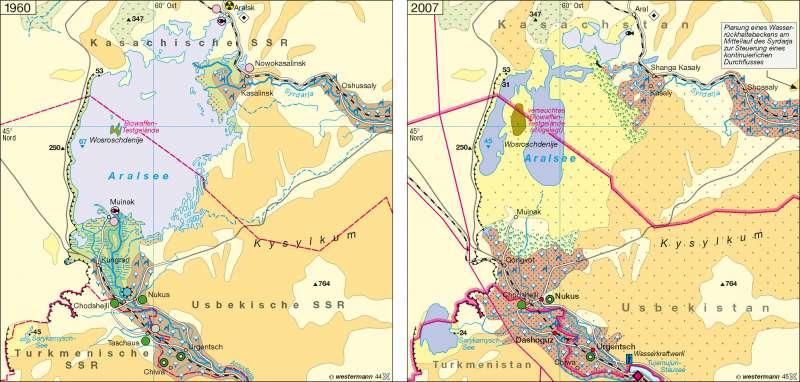 Aralsee | Landschaftswandel 1960 / 2007 | Zentralasien | Karte 123/1