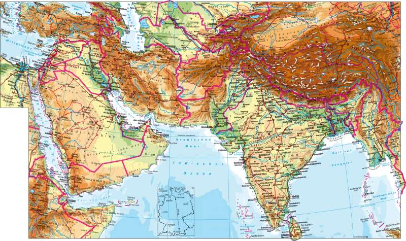 West- und Südasien | physisch | West- und Südasien – physisch | Karte 124/1