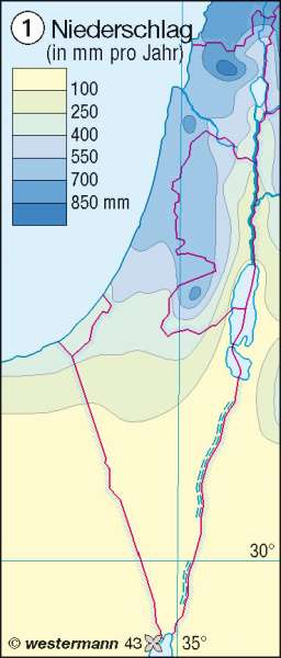 Niederschlag | Jahresmittel in mm | Israel | Karte 126/1