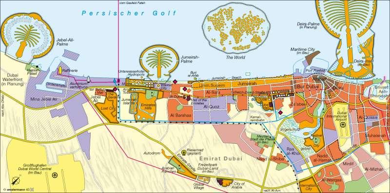 Dubai | Ausbau zur Tourismusmetropole | Golfstaaten | Karte 127/3