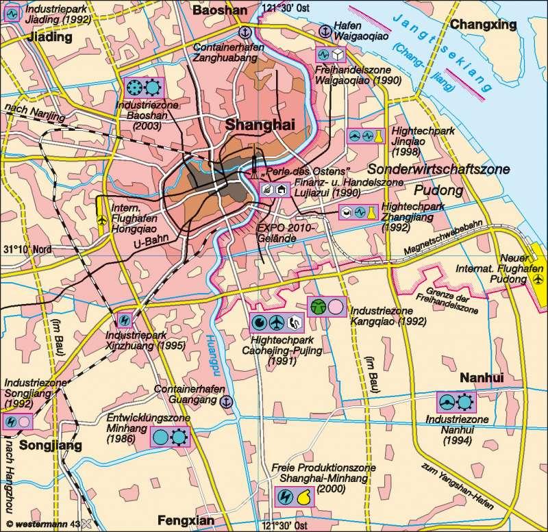 Shanghai   Wirtschaftsmetropole   China   Karte 131/2