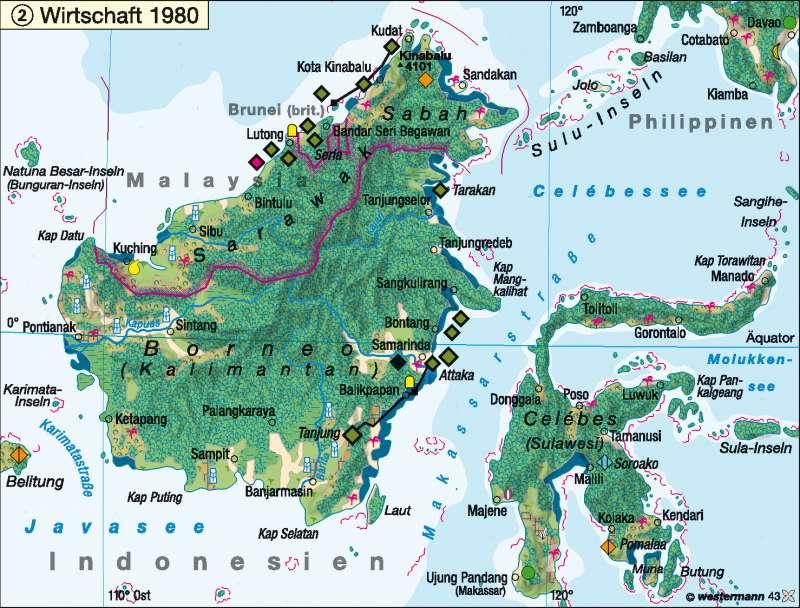Borneo | Wirtschaft 1980 | Südostasien – Wirtschaft | Karte 143/2