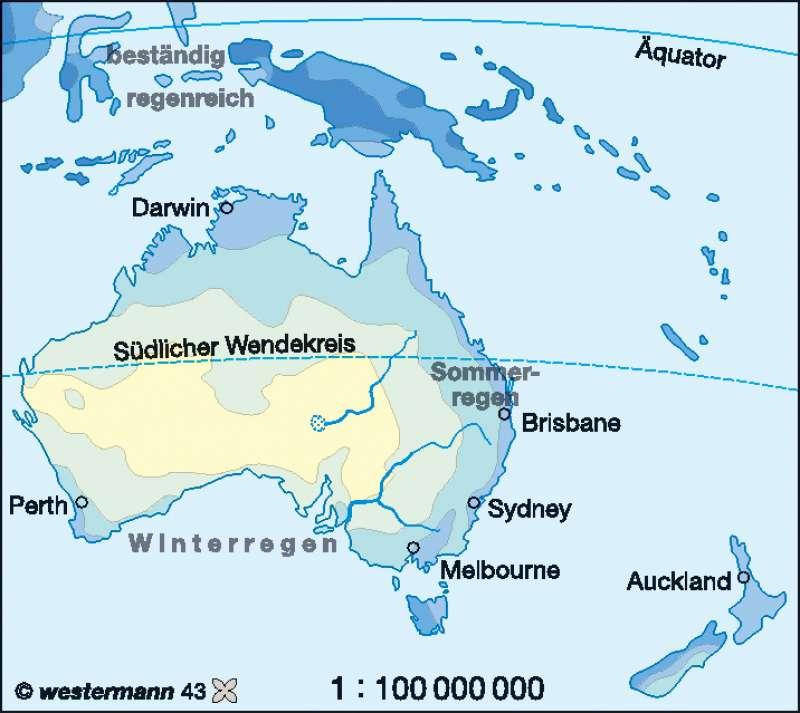 Niederschläge im Jahr |  | Australien/Neuseeland – Wirtschaft und Klima | Karte 146/2