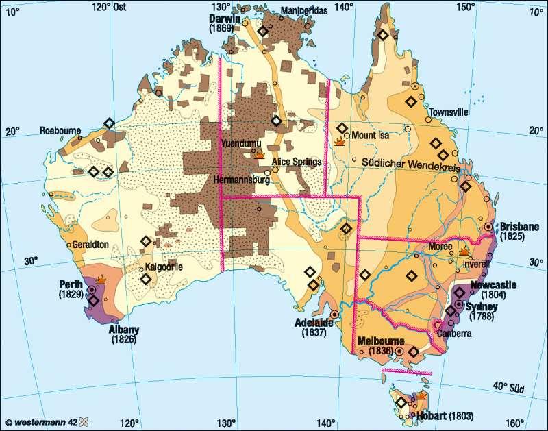 Ureinwohner (Aborigines)/Einwanderung |  | Australien/Neuseeland – Wirtschaft und Klima | Karte 147/5