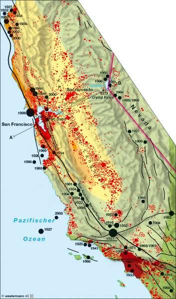 Kalifornien | Erdbeben | Amerika – physische Übersicht | Karte 149/2