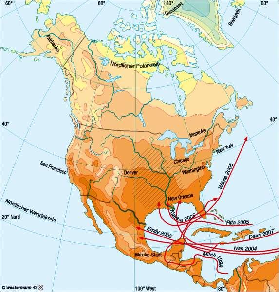 Temperaturen im Juli      Nord- und Mittelamerika – Klima   Karte 150/2