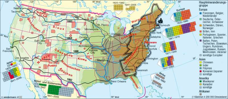 Einwanderung/Besiedlung |  | USA – Bevölkerung | Karte 152/1