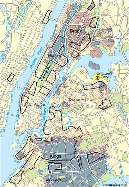 New York | kulturgeprägte Wohngebiete | USA – Städte | Karte 159/2