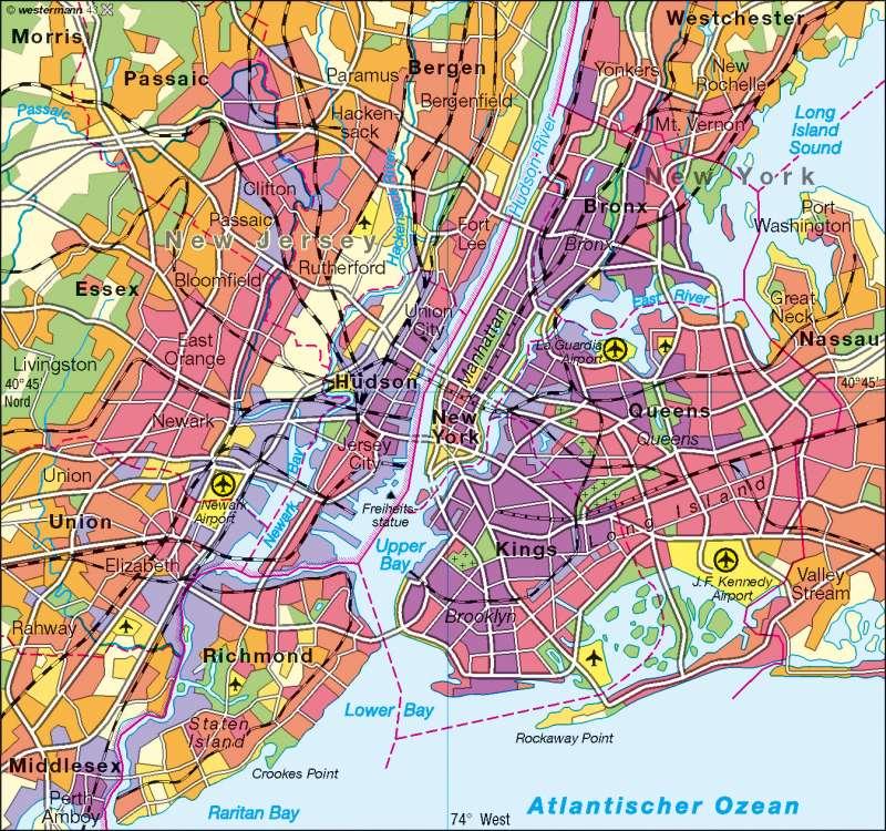 New York   Bevölkerungsdichte   USA – Städte   Karte 159/3