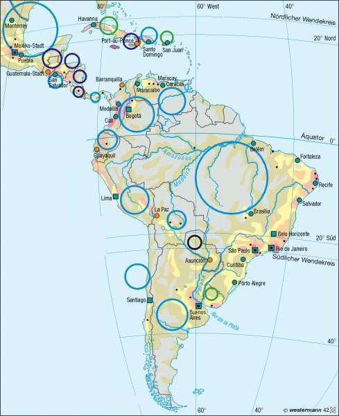 Bevölkerung |  | Mittel- und Südamerika – Bevölkerung/Staaten | Karte 161/4