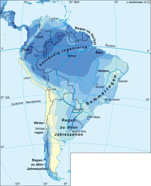 Niederschläge im Jahr      Südamerika – Klima/Brasilien   Karte 168/3