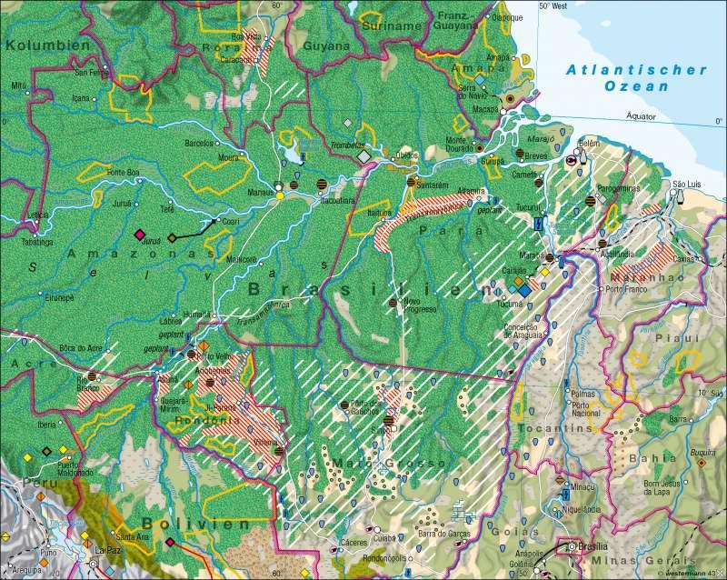 Amazonien | Eingriff in den tropischen Regenwald | Südamerika – Klima/Brasilien | Karte 169/5