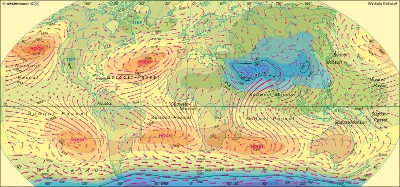 Luftdruck und Winde im Juli |  | Erde – Klima | Karte 179/4