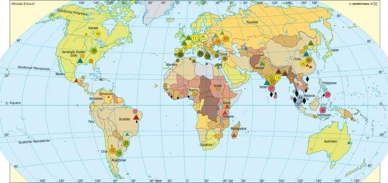 Agrarische Rohstoff/Anteil der Landwirtschaft am Bruttoinlandsprodukt |  | Erde – Agrarwirtschaft | Karte 182/2