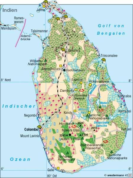 Sri Lanka | Tourismus und Konflikte | Erde – Tourismus | Karte 188/2