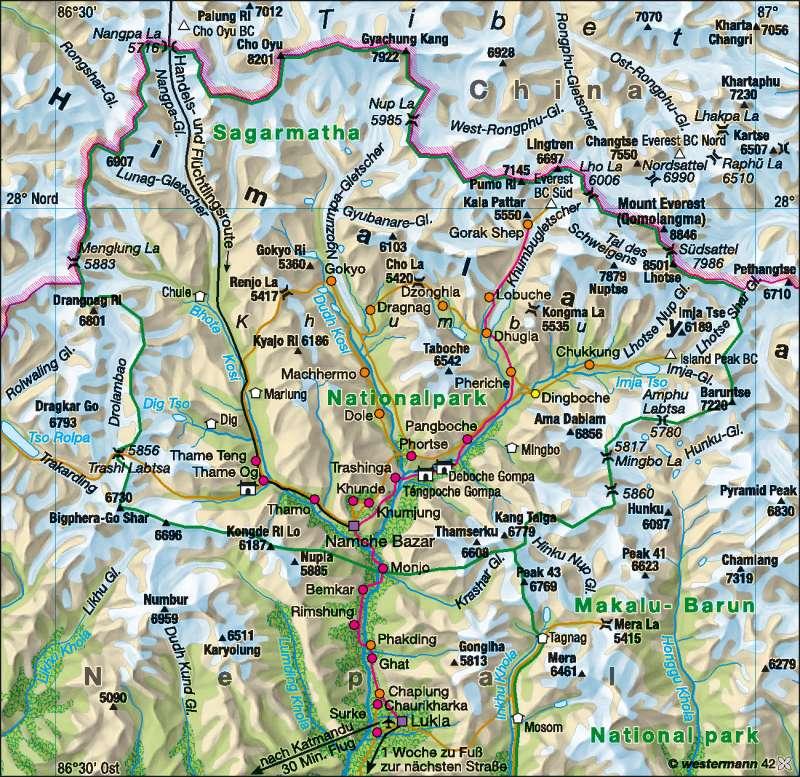 Himalaya | Tourismus | Erde – Tourismus | Karte 189/6