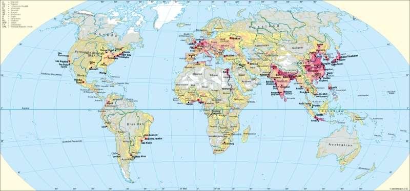 Bevölkerungsdichte/ -verteilung      Erde – Bevölkerung   Karte 190/2