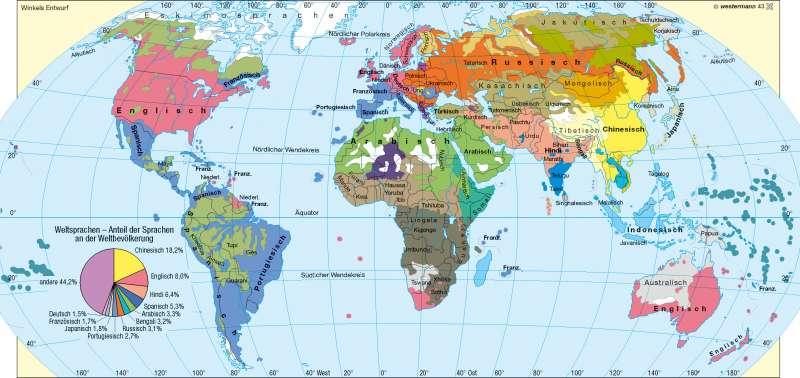 Sprachen |  | Erde – Religionen/Sprachen | Karte 193/4