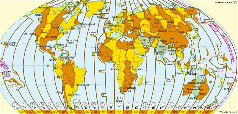 Zeitzonen |  | Erde – Zeitzonen | Karte 195/3