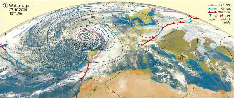 Wetterlage   27.10.2004   Erdatmosphäre/Wetterbeobachtung   Karte 226/3